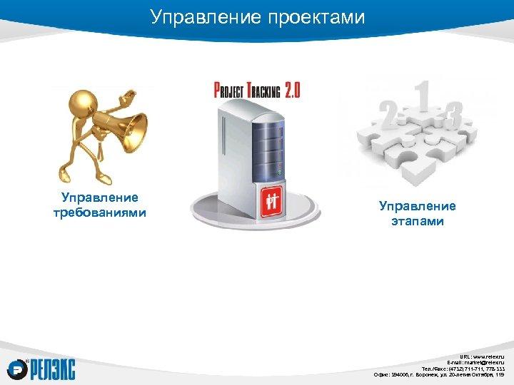 Управление проектами Управление требованиями Управление этапами URL: www. relex. ru E-mail: market@relex. ru Тел.