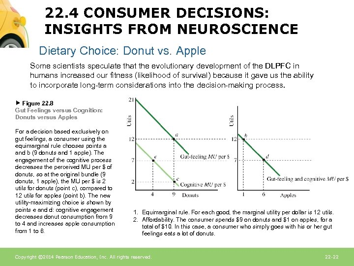 22. 4 CONSUMER DECISIONS: INSIGHTS FROM NEUROSCIENCE Dietary Choice: Donut vs. Apple Some scientists