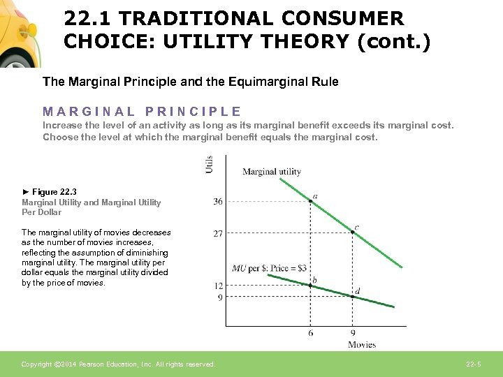 22. 1 TRADITIONAL CONSUMER CHOICE: UTILITY THEORY (cont. ) The Marginal Principle and the