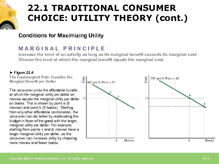 22. 1 TRADITIONAL CONSUMER CHOICE: UTILITY THEORY (cont. ) Conditions for Maximizing Utility MARGINAL