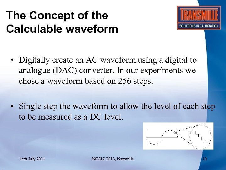 The Concept of the Calculable waveform • Digitally create an AC waveform using a