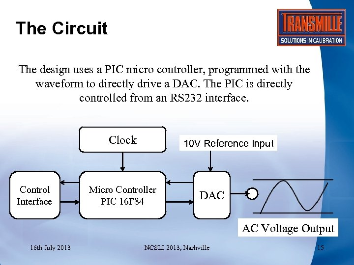 The Circuit The design uses a PIC micro controller, programmed with the waveform to