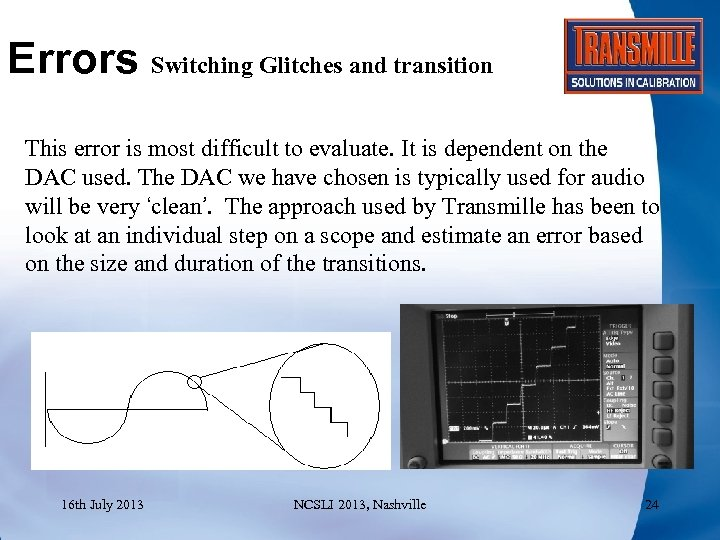 Errors Switching Glitches and transition This error is most difficult to evaluate. It is