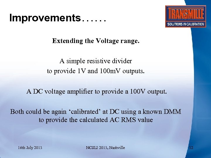 Improvements…… Extending the Voltage range. A simple resistive divider to provide 1 V and