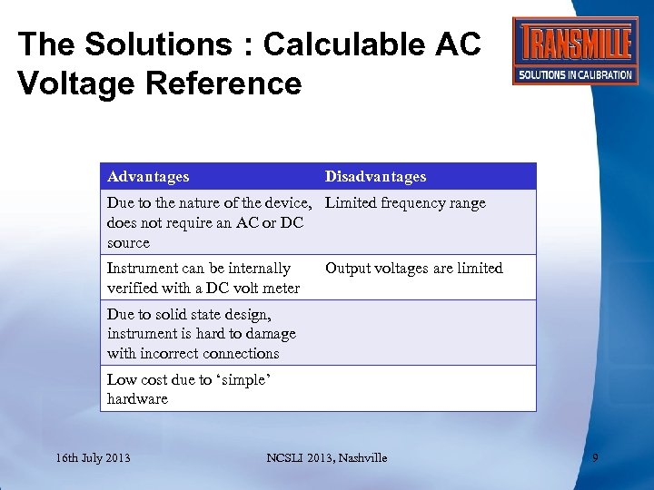 The Solutions : Calculable AC Voltage Reference Advantages Disadvantages Due to the nature of