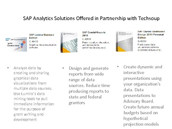 SAP Analytics Solutions Offered in Partnership with Techsoup • Analyze data by creating and