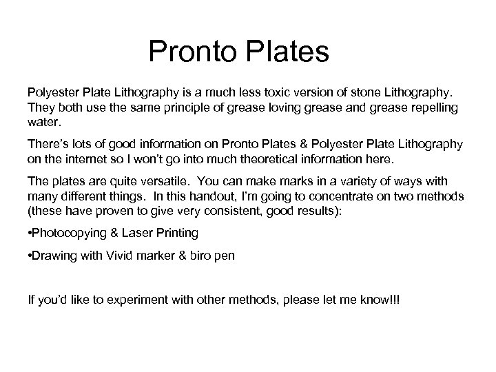 Pronto Plates Polyester Plate Lithography is a much