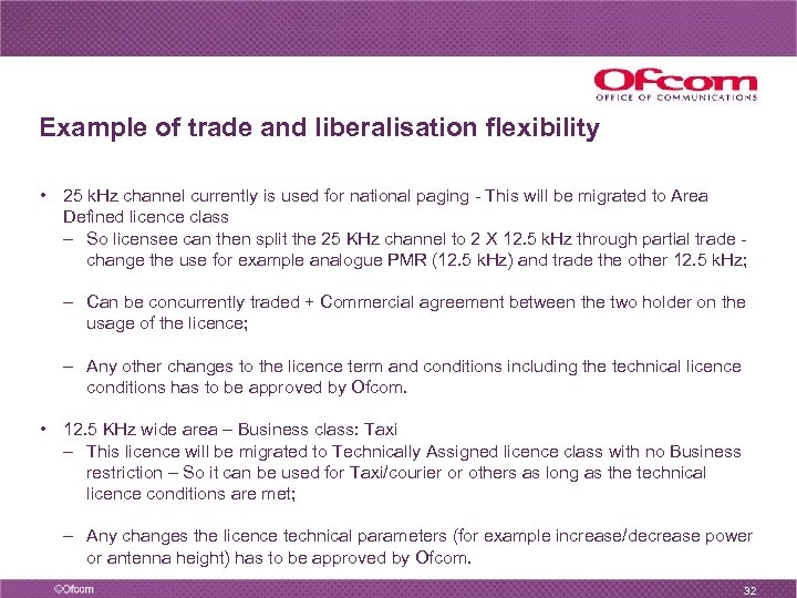 Example of trade and liberalisation flexibility • 25 k. Hz channel currently is used