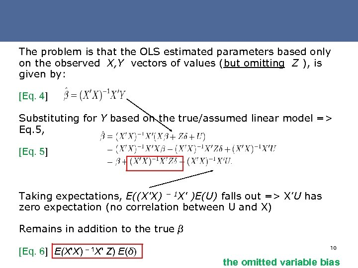 The problem is that the OLS estimated parameters based only on the observed X,