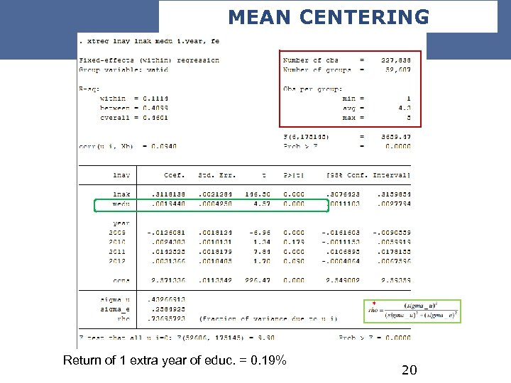 MEAN CENTERING Return of 1 extra year of educ. = 0. 19% 20