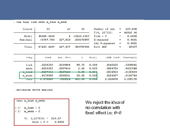 We reject the idea of no correlation with fixed effect i. e; θ=0 27