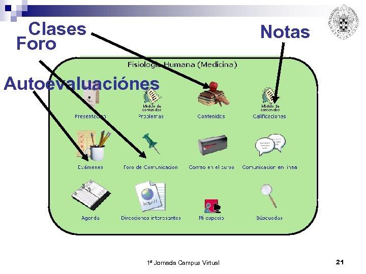 Clases Foro Notas Autoevaluaciónes 1ª Jornada Campus Virtual 21