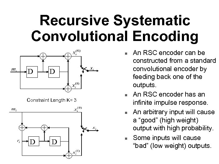 Recursive Systematic Convolutional Encoding n D D Constraint Length K= 3 n n D