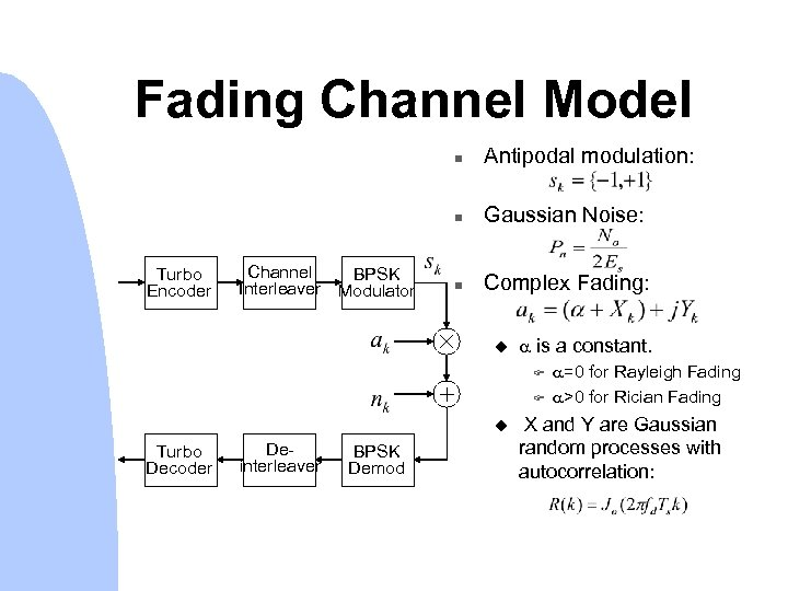 Fading Channel Model n n Turbo Encoder Channel BPSK Interleaver Modulator Antipodal modulation: Gaussian