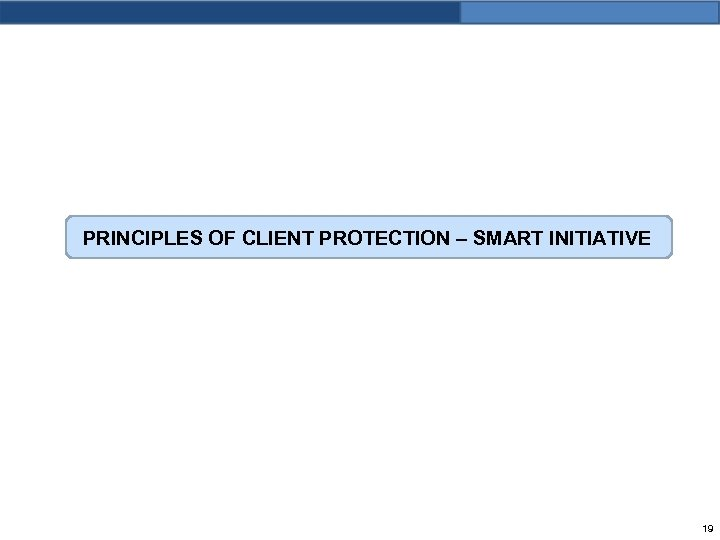 PRINCIPLES OF CLIENT PROTECTION – SMART INITIATIVE 19