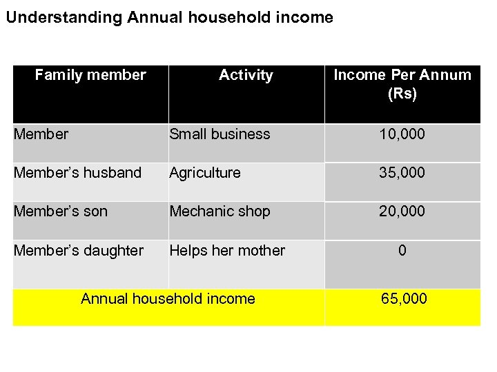 Understanding Annual household income Family member Activity Income Per Annum (Rs) Member Small business