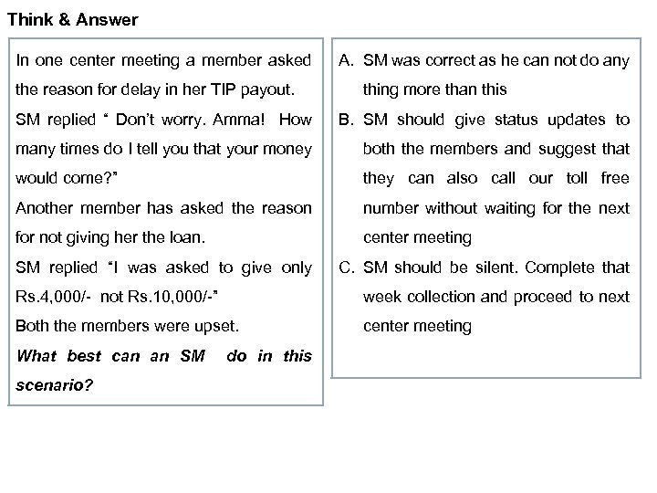 Think & Answer In one center meeting a member asked the reason for delay
