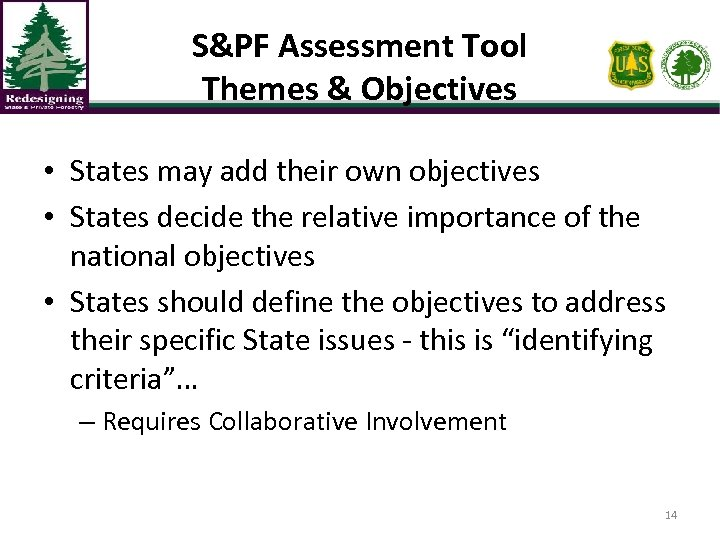 S&PF Assessment Tool Themes & Objectives • States may add their own objectives •