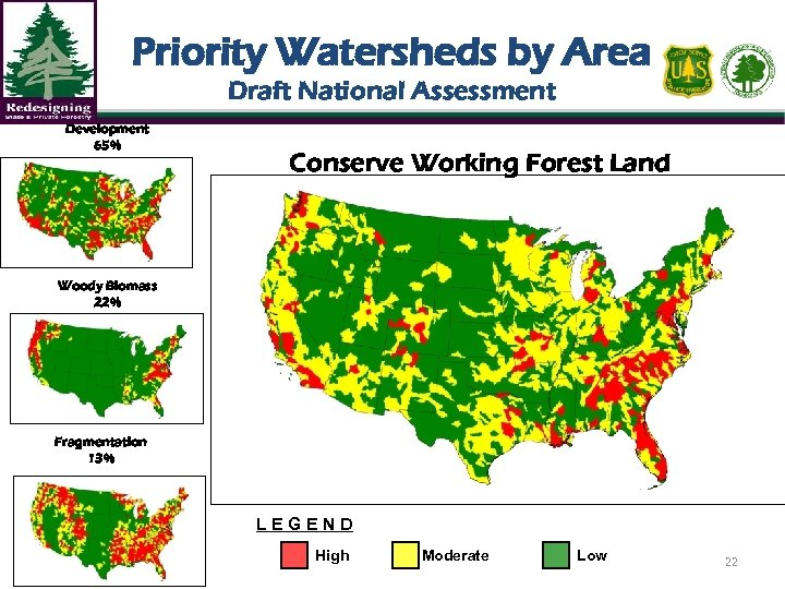 Priority Watersheds by Area Draft National Assessment Development 65% Conserve Working Forest Land Woody