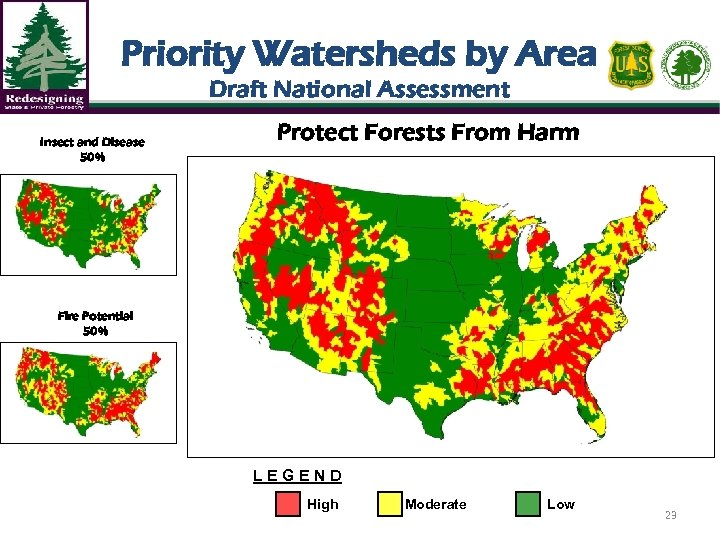 Priority Watersheds by Area Draft National Assessment Insect and Disease 50% Protect Forests From
