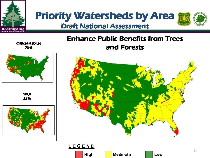 Priority Watersheds by Area Draft National Assessment Critical Habitat 75% Enhance Public Benefits from