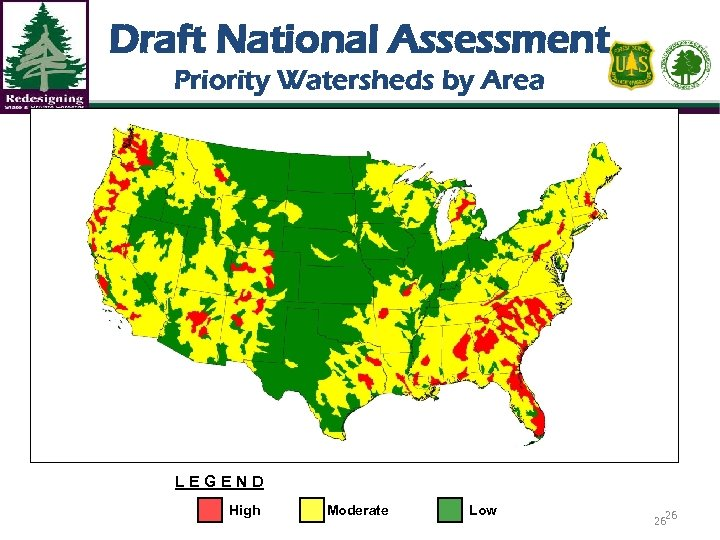 Draft National Assessment Priority Watersheds by Area LEGEND High Moderate Low 26 26