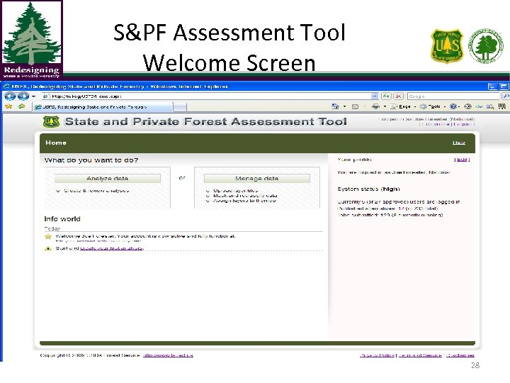 S&PF Assessment Tool Welcome Screen 28