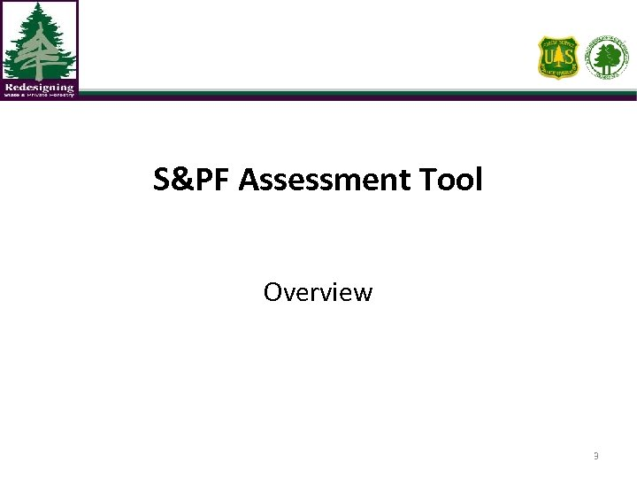 S&PF Assessment Tool Overview 3