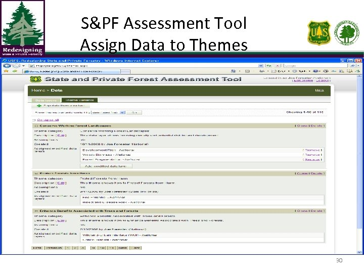 S&PF Assessment Tool Assign Data to Themes 30