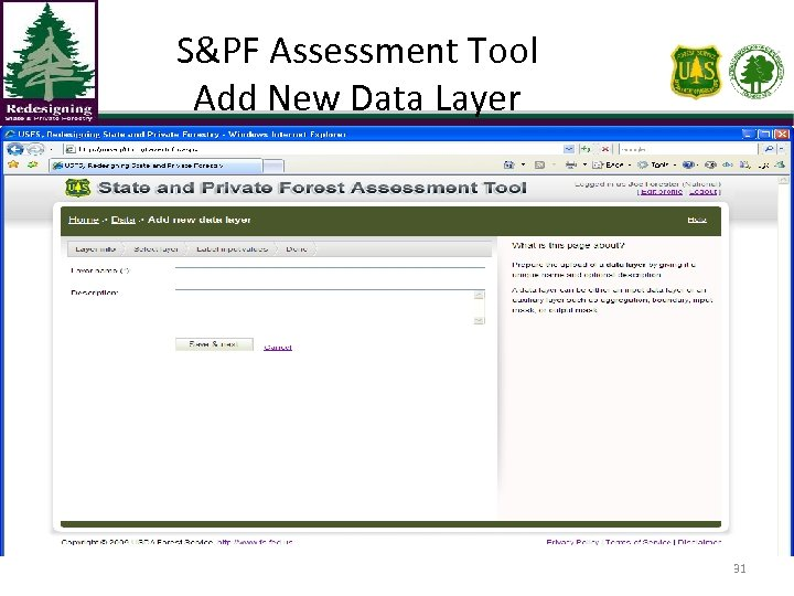 S&PF Assessment Tool Add New Data Layer 31