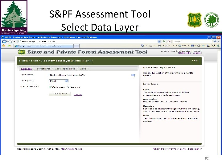 S&PF Assessment Tool Select Data Layer 32