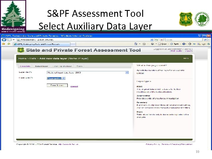 S&PF Assessment Tool Select Auxiliary Data Layer 33