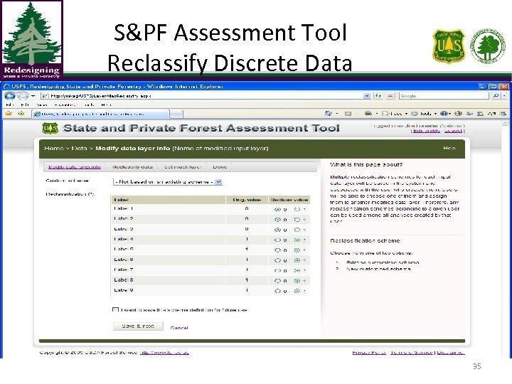 S&PF Assessment Tool Reclassify Discrete Data 35