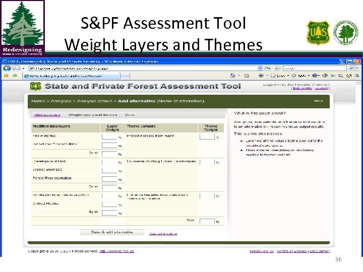 S&PF Assessment Tool Weight Layers and Themes 36