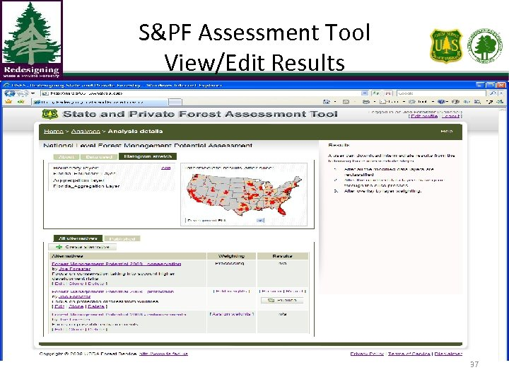S&PF Assessment Tool View/Edit Results 37
