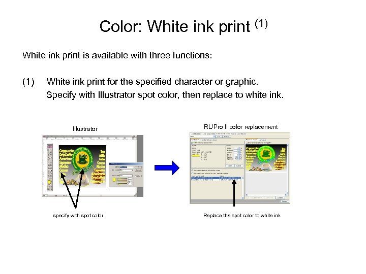 Color: White ink print (1) White ink print is available with three functions: (1)