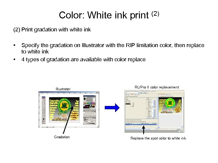 Color: White ink print (2) Print gradation with white ink • • Specify the