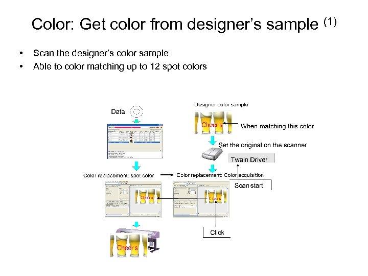 Color: Get color from designer's sample (1) • • Scan the designer's color sample