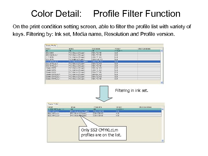 Color Detail: Profile Filter Function On the print condition setting screen, able to filter