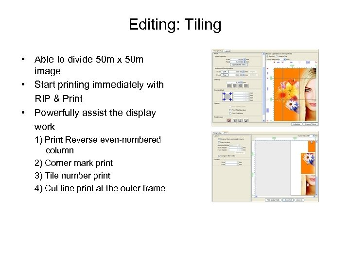 Editing: Tiling • Able to divide 50 m x 50 m image • Start