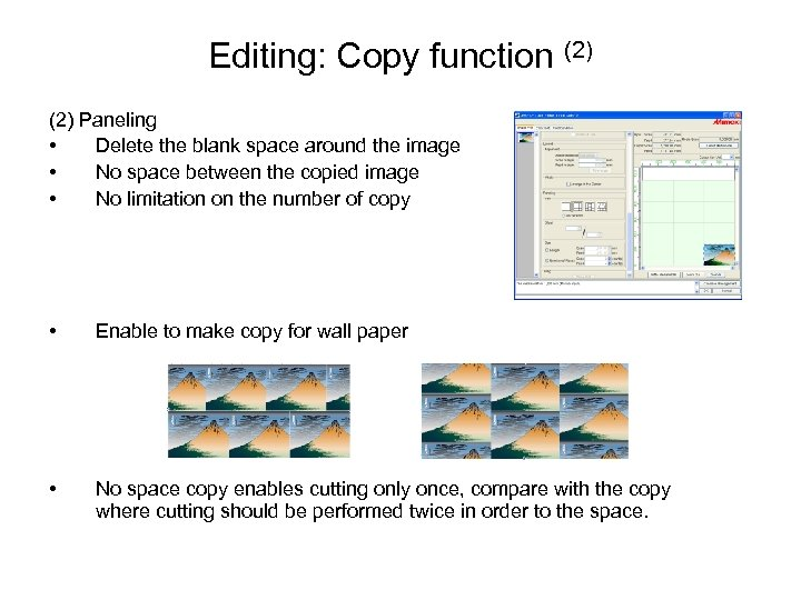 Editing: Copy function (2) Paneling • Delete the blank space around the image •