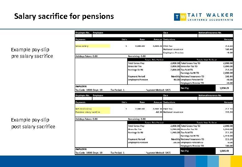 Salary sacrifice for pensions Example pay-slip pre salary sacrifice Example pay-slip post salary sacrifice