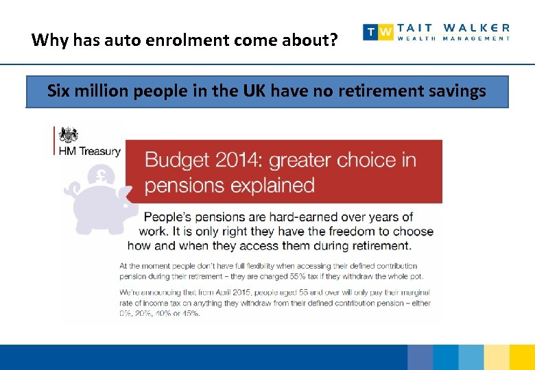 Why has auto enrolment come about? Six million people in the UK have no