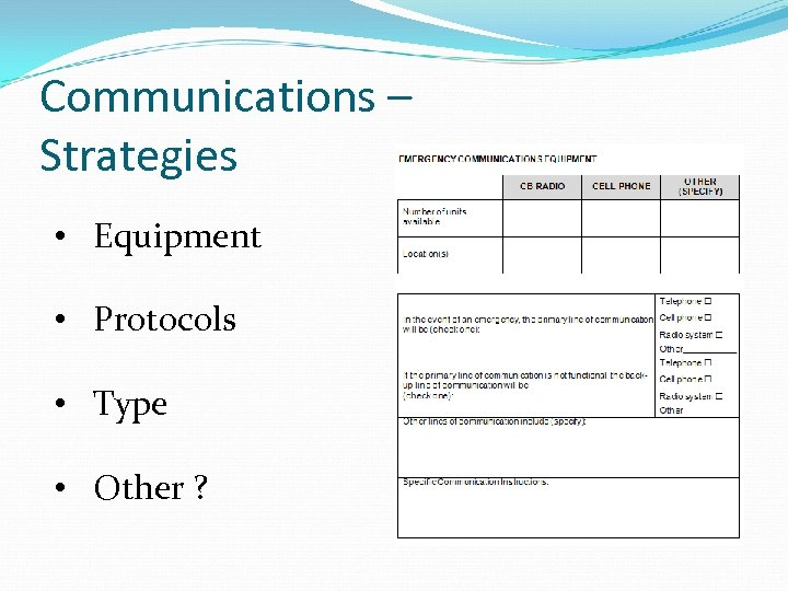 Communications – Strategies • Equipment • Protocols • Type • Other ?
