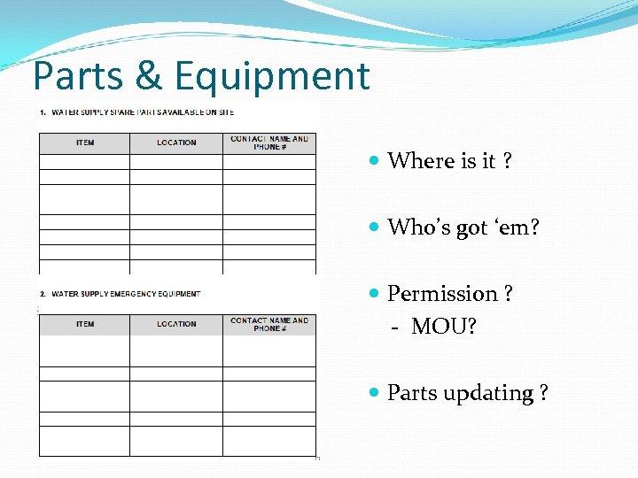 Parts & Equipment Where is it ? Who's got 'em? Permission ? - MOU?