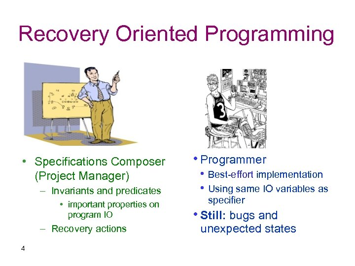 Recovery Oriented Programming • Specifications Composer (Project Manager) – Invariants and predicates • important