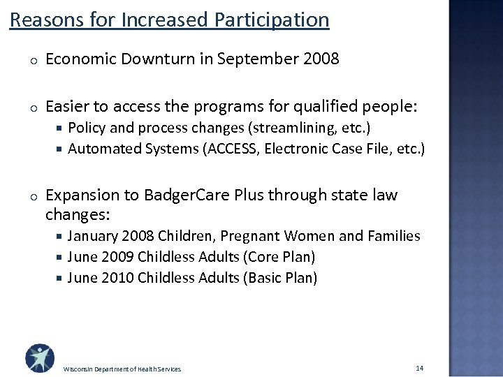 Reasons for Increased Participation o Economic Downturn in September 2008 o Easier to access