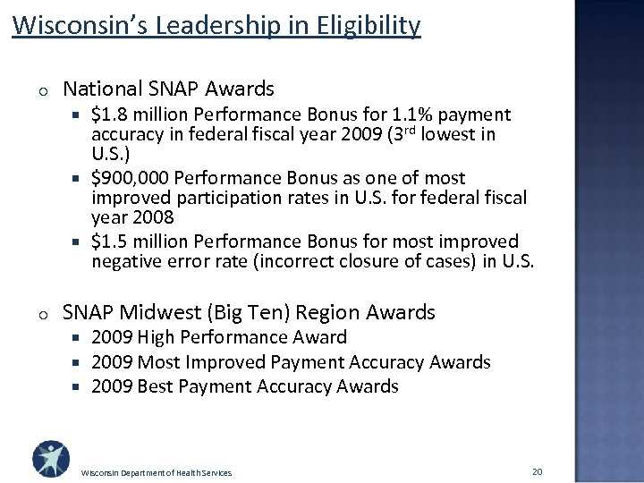 Wisconsin's Leadership in Eligibility o National SNAP Awards $1. 8 million Performance Bonus for