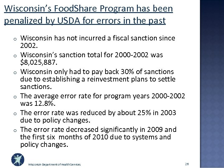Wisconsin's Food. Share Program has been penalized by USDA for errors in the past