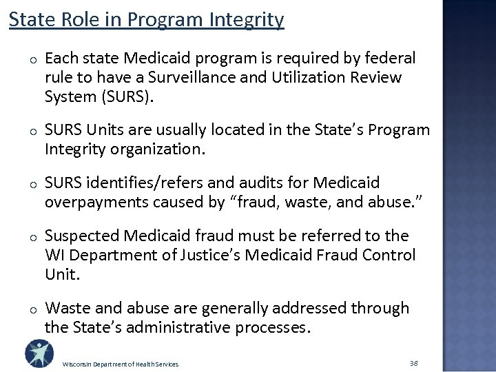 State Role in Program Integrity o Each state Medicaid program is required by federal
